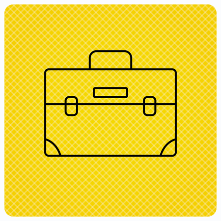 diplomat: Briefcase icon. Businessman case or diplomat sign. Hand baggage symbol. Linear icon on orange background. Vector