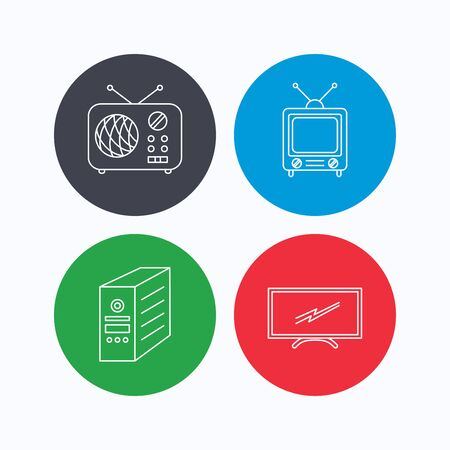 pc case: Retro TV, radio and PC case icons. Computer linear sign. Linear icons on colored buttons. Flat web symbols. Vector Illustration
