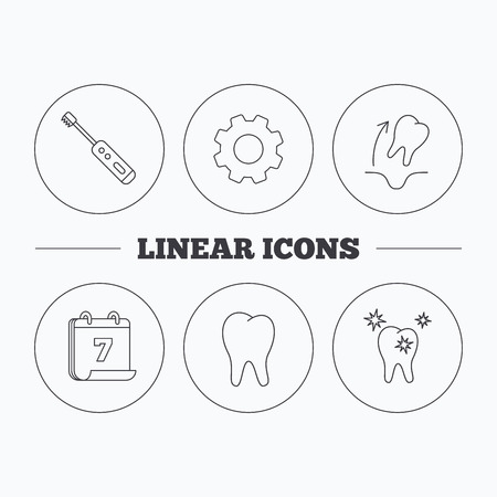 tooth extraction: Tooth extraction, electric toothbrush icons. Healthy teeth linear sign. Flat cogwheel and calendar symbols. Linear icons in circle buttons. Vector