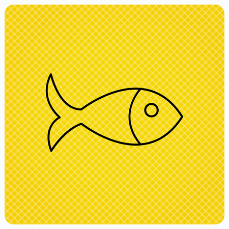 aquaculture: Fish icon. Seafood sign. Vegetarian food symbol. Linear icon on orange background. Vector