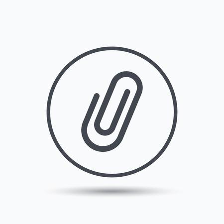 attachment: Attachment icon. Paper clip symbol. Circle button with flat web icon on white background. Vector