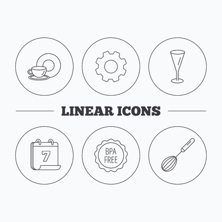 bpa: Food and drink, glass and whisk icons. BPA free linear sign. Flat cogwheel and calendar symbols. Linear icons in circle buttons. Vector Illustration