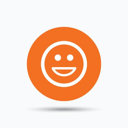 laugh emoticon: Happy smile icon. Smiley laugh emoticon symbol. Orange circle button with flat web icon. Vector
