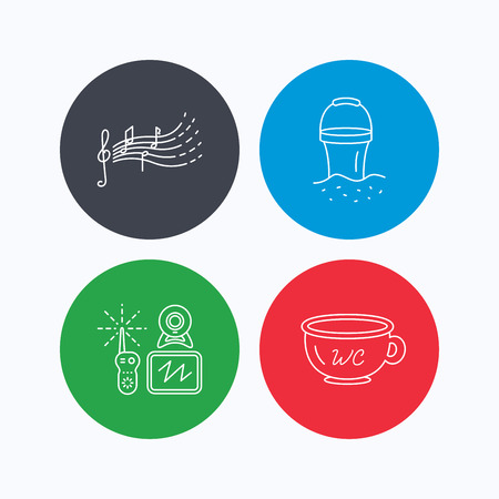 beach bucket: Baby wc, video monitoring and songs for kids icons. Beach bucket linear sign. Linear icons on colored buttons. Flat web symbols. Vector Illustration