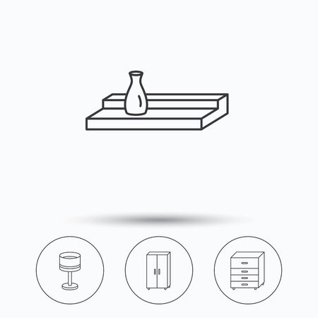 chest wall: Table lamp, cupboard and wall shelf icons. Chest of drawers linear sign. Linear icons in circle buttons. Flat web symbols. Vector