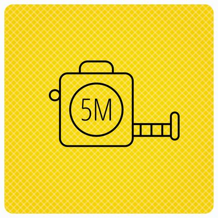 centimetre: Tape measurement icon. Roll ruler sign. Linear icon on orange background. Vector Illustration