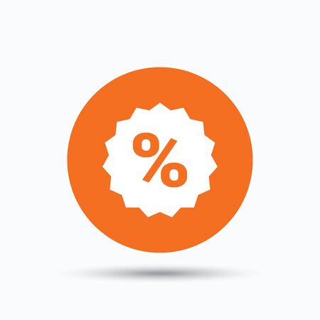 Discount icon. Sale offer star symbol. Orange circle button with flat web icon. Vector