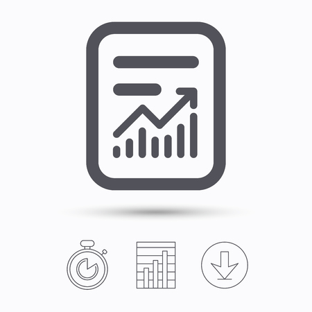 Report file icon. Document page with statistics symbol. Stopwatch, chart graph and download arrow. Linear icons on white background. Vector Ilustração