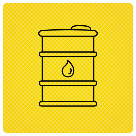 cask: Barrel of oil icon. Cask with water drop sign. Fuel symbol. Linear icon on orange background. Vector