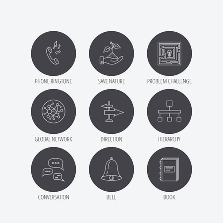 global direction: Conversation, global network and direction icons. Save nature, maze and book linear signs. Bell and phone ringtone flat line icons. Linear icons in circle buttons. Flat web symbols. Vector