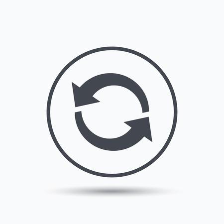 Icon. Actualizar o repetir símbolo. botón círculo con el icono de banda plana en el fondo blanco. Vector Ilustración de vector