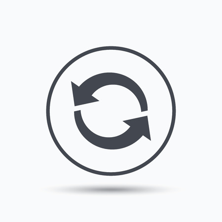 vector button: Update icon. Refresh or repeat symbol. Circle button with flat web icon on white background. Vector Illustration