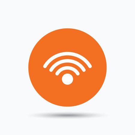 wireless communication: Wifi icon. Wireless internet sign. Communication technology symbol. Orange circle button with flat web icon. Vector