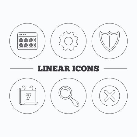 protection gear: Calendar, magnifying glass and delete icons. Shield linear sign. Flat cogwheel and calendar symbols. Linear icons in circle buttons. Vector