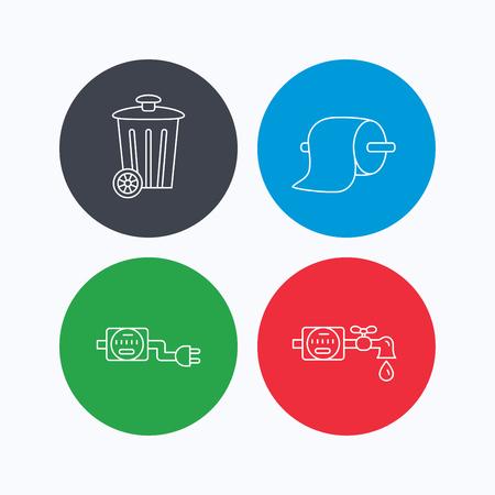 Poubelle, électricité et compteur d'eau icônes. Toiler signe papier linéaire. icônes linéaires sur les boutons colorés. Flat symboles web. Vecteur