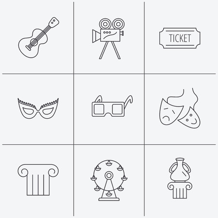 theater masks: Museum, guitar music and theater masks icons. Ticket, video camera and 3d glasses linear signs. Entertainment, antique column icons. Linear icons on white background. Vector Illustration