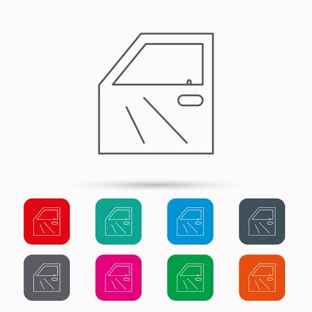 overhaul: Car door icon. Automobile lock sign. Linear icons in squares on white background. Flat web symbols. Vector