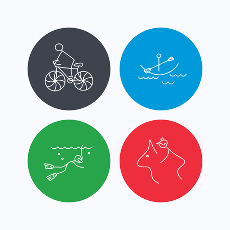 boating: Diving, biking and horseback riding icons. Boating linear sign. Linear icons on colored buttons. Flat web symbols. Vector