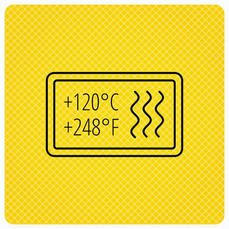 resistant: Heat resistant icon. Microwave or dishwasher information sign. Attention symbol. Linear icon on orange background. Vector Illustration