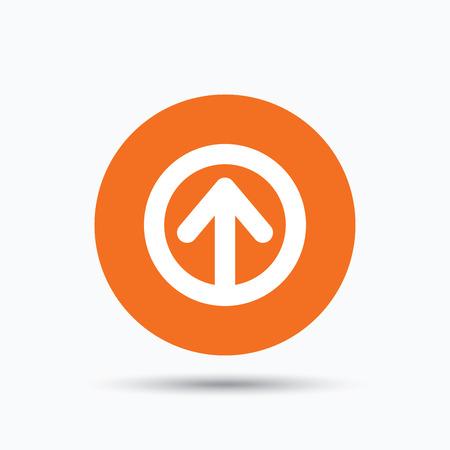 Upload icon. Load internet data symbol. Orange circle button with flat web icon. Vector