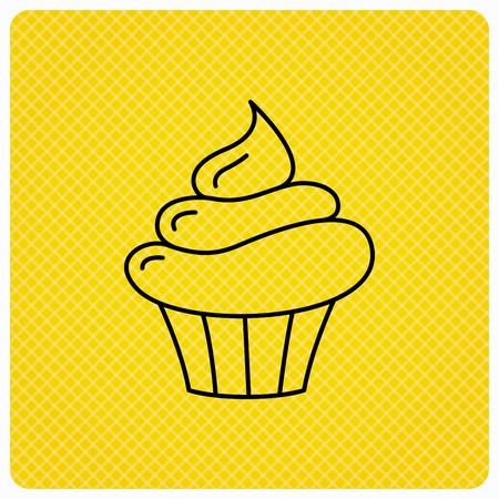orange cake: Cupcake icon. Dessert cake sign. Delicious bakery food symbol. Linear icon on orange background. Vector