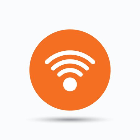 Wifi icon. Wireless internet sign. Communication technology symbol. Orange circle button with flat web icon. Vector