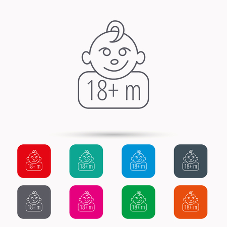 plus symbol: Baby face icon. Newborn child sign. Use of one and half year and plus symbol. Linear icons in squares on white background. Flat web symbols. Vector