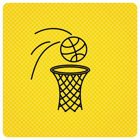 professional sport: Basketball icon. Basket with ball sign. Professional sport equipment symbol. Linear icon on orange background. Vector Illustration