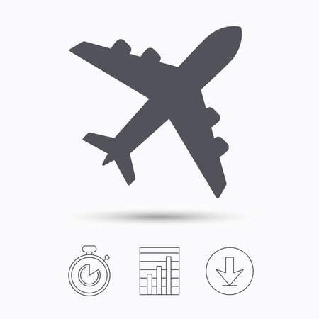 Plane icon. Flight transport symbol. Stopwatch, chart graph and download arrow. Linear icons on white background. Vector