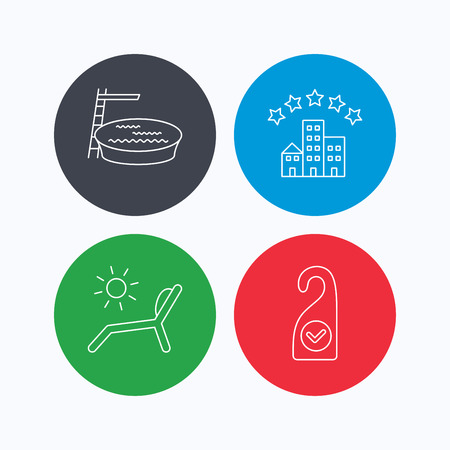 5 door: Hotel, swimming pool and beach deck chair icons. Clean room linear sign. Linear icons on colored buttons. Flat web symbols. Vector