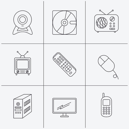 pc case: Web camera, radio and mobile phone icons. Monitor, PC case and TV remote linear signs. Hard disk and PC mouse icons. Linear icons on white background. Vector