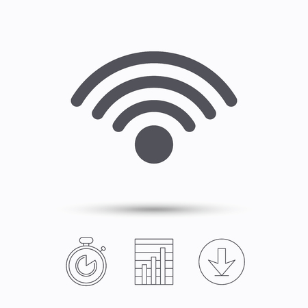 Wifi icon. Wireless internet sign. Communication technology symbol. Stopwatch, chart graph and download arrow. Linear icons on white background. Vector