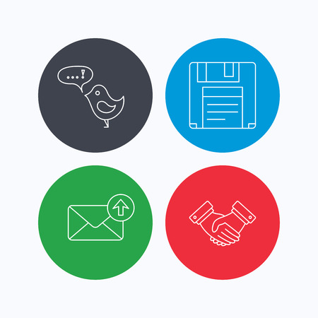 outbox: Outbox mail, message and handshake icons. Floppy disk linear sign. Linear icons on colored buttons. Flat web symbols. Vector Illustration