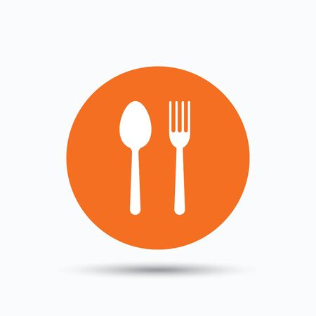 Food icons. Fork and spoon signs. Cutlery symbol. Orange circle button with flat web icon. Vector