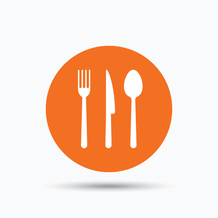 Fork, knife and spoon icons. Cutlery symbol. Orange circle button with flat web icon. Vector
