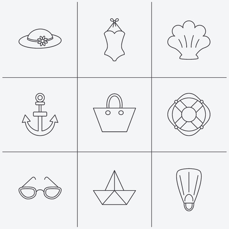 glases: Paper boat, shell and swimsuit icons. Lifebuoy, glases and women hat linear signs. Anchor, ladies handbag icons. Linear icons on white background. Vector
