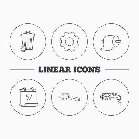 canalization: Trash bin, electricity and water counter icons. Toiler paper linear sign. Flat cogwheel and calendar symbols. Linear icons in circle buttons. Vector