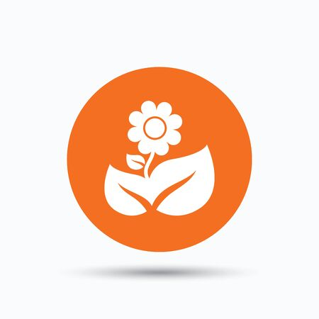florist: Flower icon. Florist plant with leaf symbol. Orange circle button with flat web icon. Vector Illustration