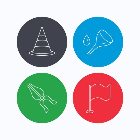 oil change: Flag, traffic cone and oil change icons. Pliers linear sign. Linear icons on colored buttons. Flat web symbols. Vector