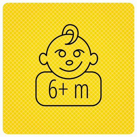 six months: Baby face icon. Newborn child sign. Use of six months and plus symbol. Linear icon on orange background. Vector