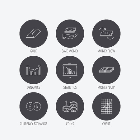 deceleration: Banking, cash money and statistics icons. Money flow, gold bar and dollar usd linear signs. Dynamics chart, coins and savings icons. Linear icons in circle buttons. Flat web symbols. Vector Illustration