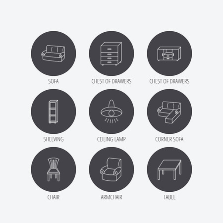 shelving: Corner sofa, table and armchair icons. Chair, ceiling lamp and chest of drawers linear signs. Shelving, furniture flat line icons. Linear icons in circle buttons. Flat web symbols. Vector