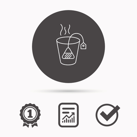 ceylon: Tea bag icon. Natural hot drink sign. Breakfast beverage symbol. Report document, winner award and tick. Round circle button with icon. Vector