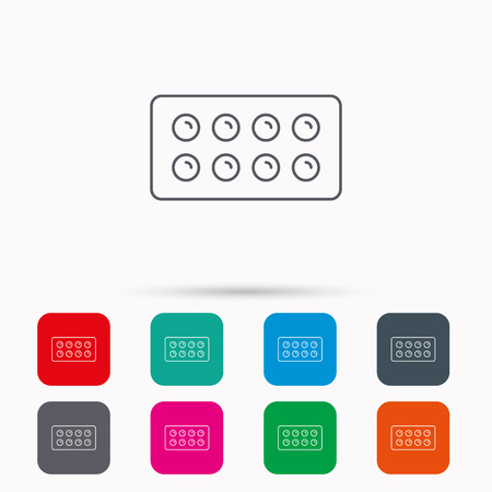 painkiller: Tablets icon. Medical pills sign. Painkiller drugs symbol. Linear icons in squares on white background. Flat web symbols. Vector