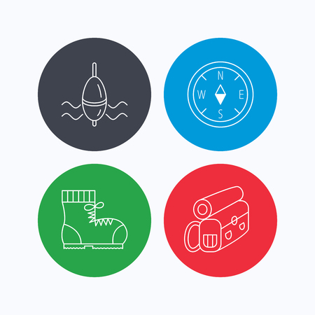 fishing float: Compass, fishing float and hiking boots icons. Backpack linear sign. Linear icons on colored buttons. Flat web symbols. Vector