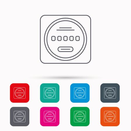 kilowatt: Electricity power counter icon. Measurement sign. Linear icons in squares on white background. Flat web symbols. Vector