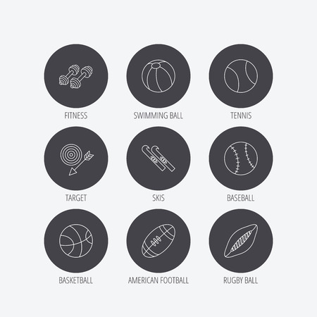 pilates ball: Sport fitness, tennis and basketball icons. Baseball, skis and American footbal signs. Rugby, swimming or pilates ball icons. Linear icons in circle buttons. Flat web symbols. Vector Illustration