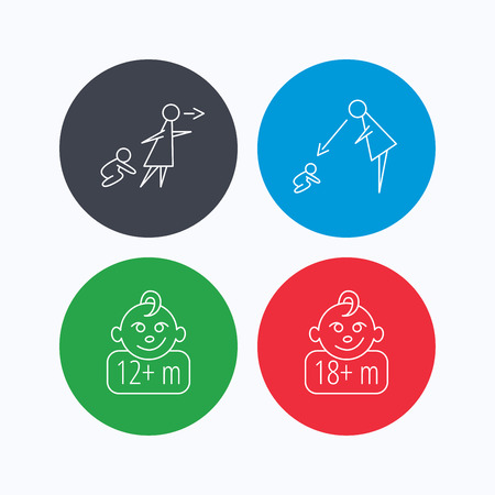 12 18 months: Unattended, parents supervision and 12 months child icons. 18+ months child linear sign. Linear icons on colored buttons. Flat web symbols. Vector Illustration