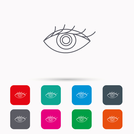 ophthalmology: Eye icon. Human vision sign. Ophthalmology symbol. Linear icons in squares on white background. Flat web symbols. Vector