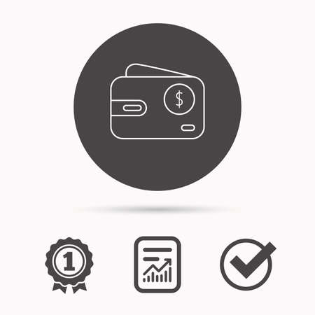 usd: Dollar wallet icon. USD cash money bag sign. Report document, winner award and tick. Round circle button with icon. Vector